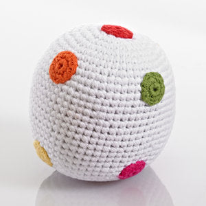WHITE BALL RATTLE WITH BRIGHT SPOTS