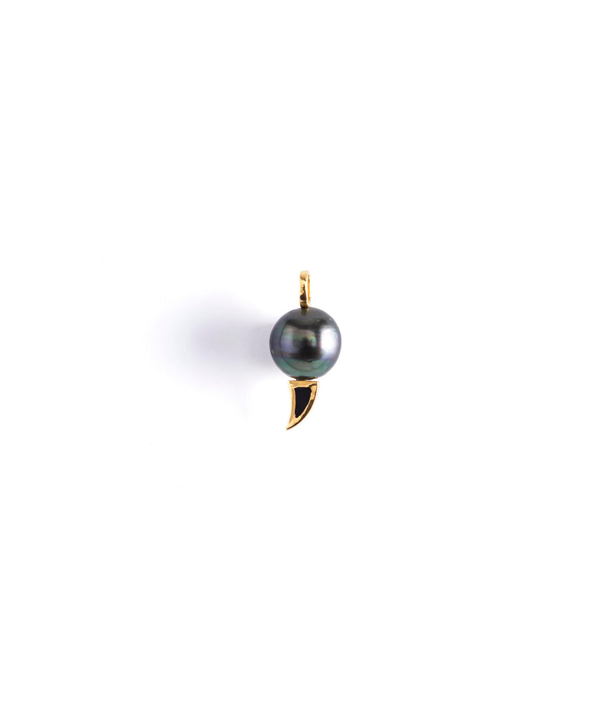 Tahitian Pearl Charm with Black Enamel Shark Fin