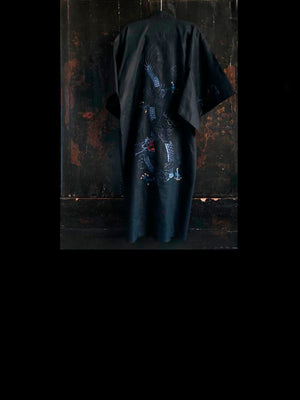 Black Dragon Linen Kimono with Blue Embroidery
