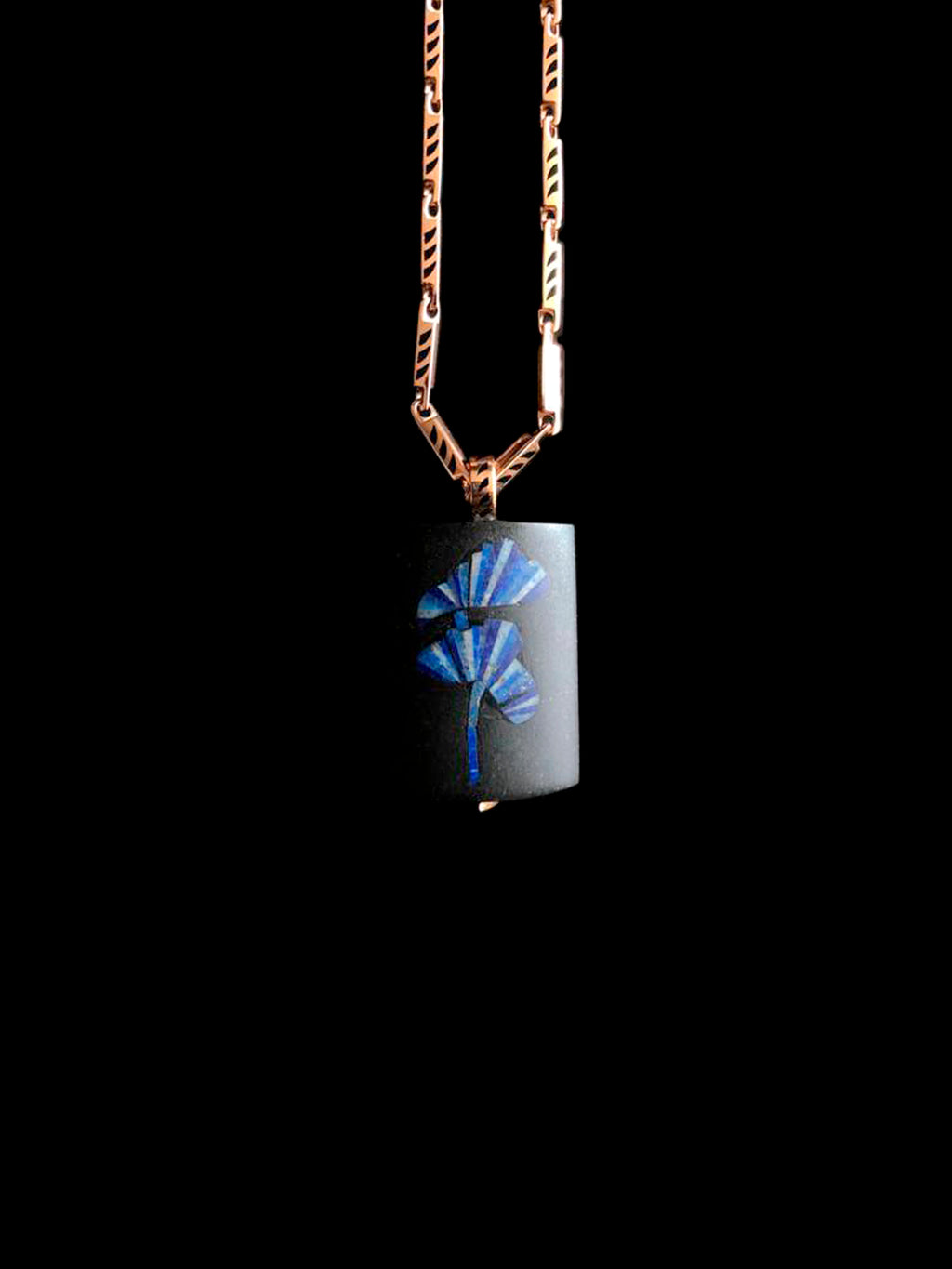 Classic Jade and Onyx Midnight Delphinium Inlay Pendant