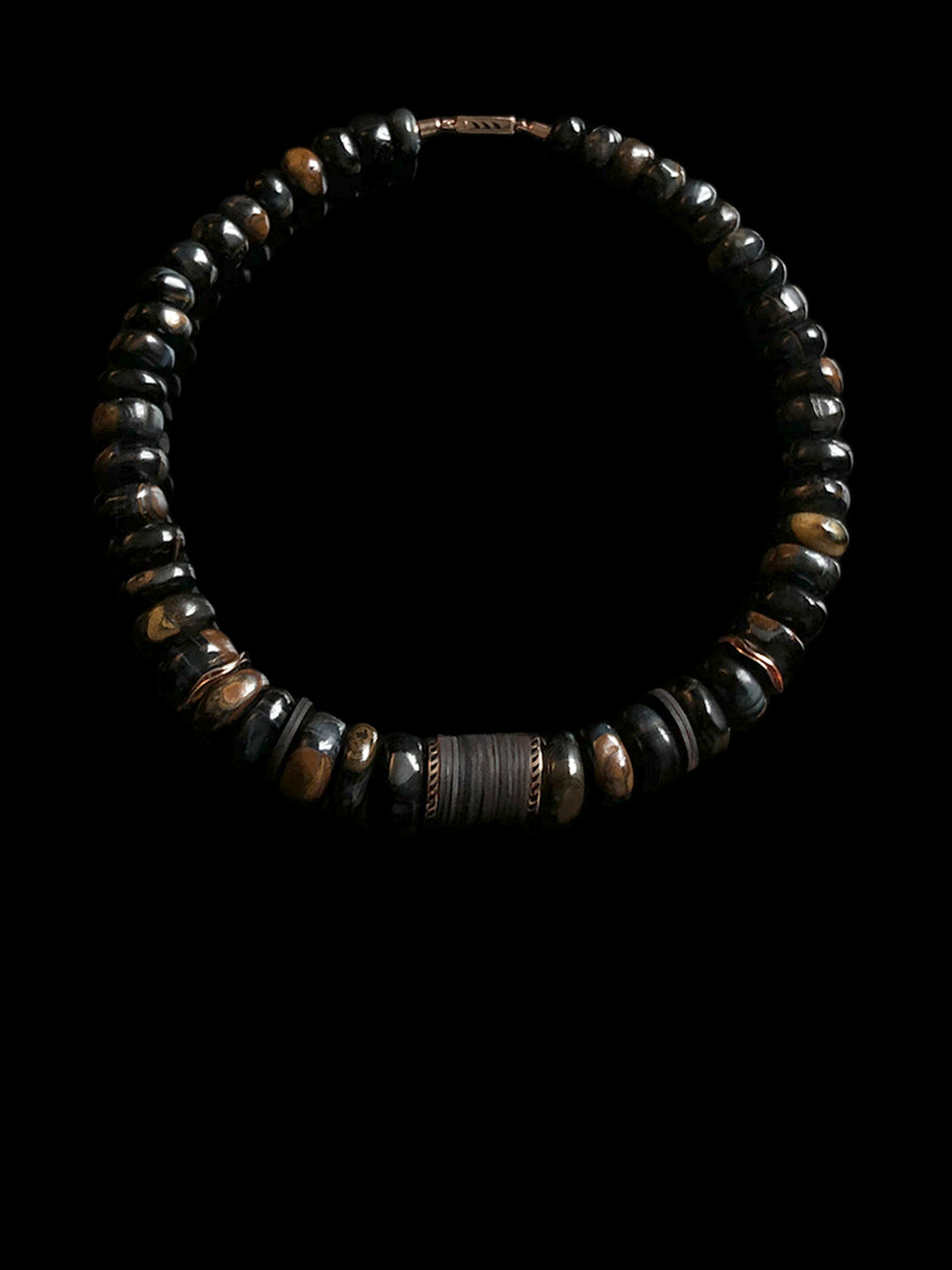 Blue Tiger Eye and Coco Shell Puka 15 mm