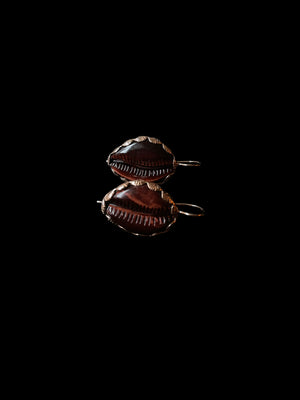 Classic Red Tiger Eye Cowry Earrings