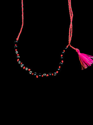 Coral Bead Tassel Necklace with Polki Diamonds