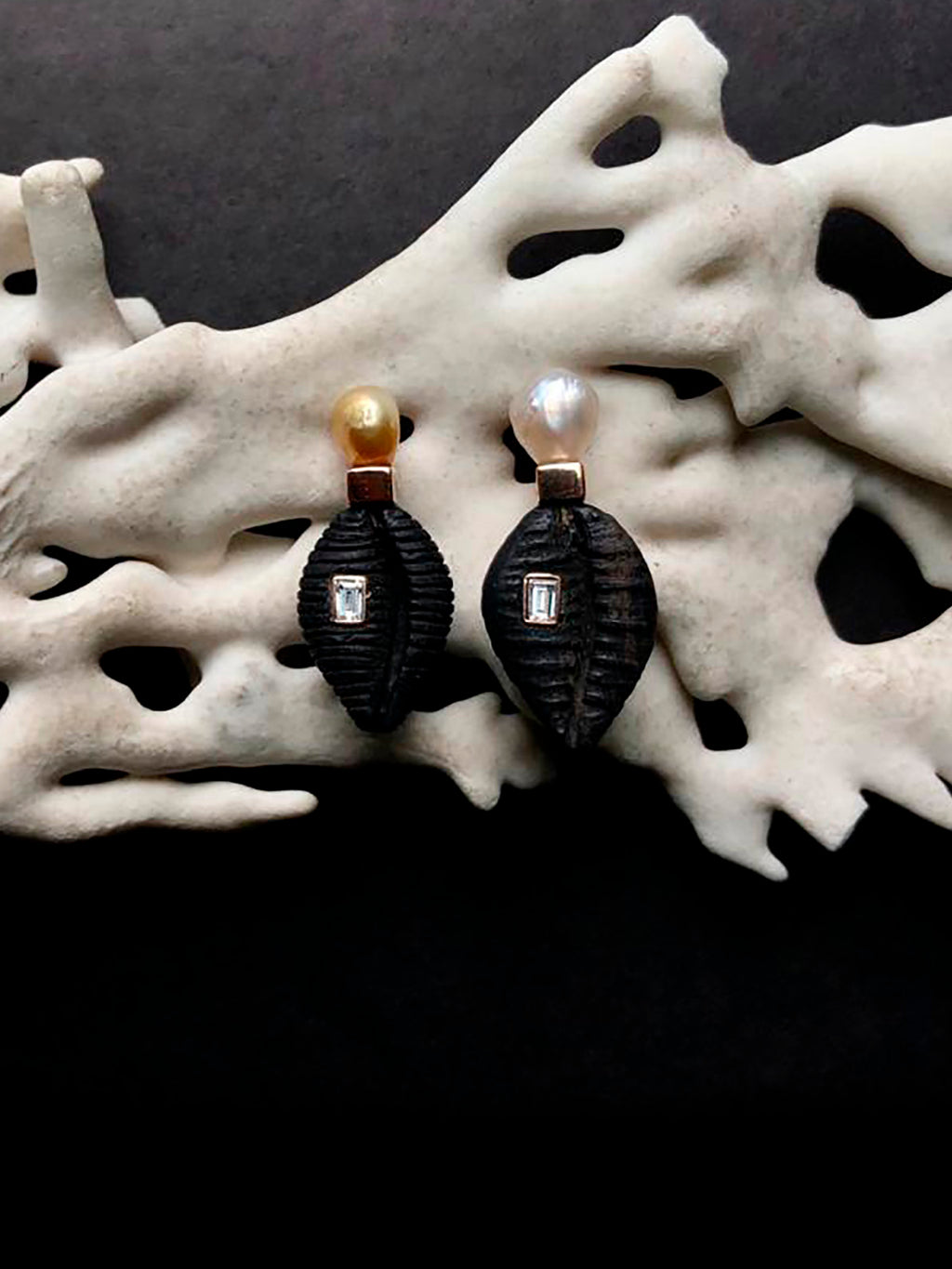 Ebony Wood Cowry Earrings with Pearls and Diamonds