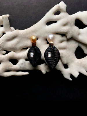 Cowry Ebony and Pearl Earrings with Diamonds