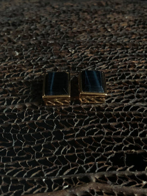 Blue Tiger Eye Deco Mexico Jali Earrings with Shark Fins