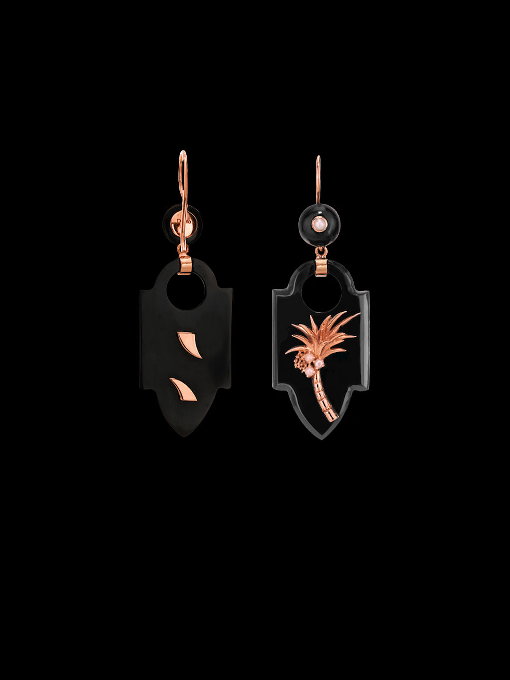 Deco Onyx Palm Earrings with Pearls