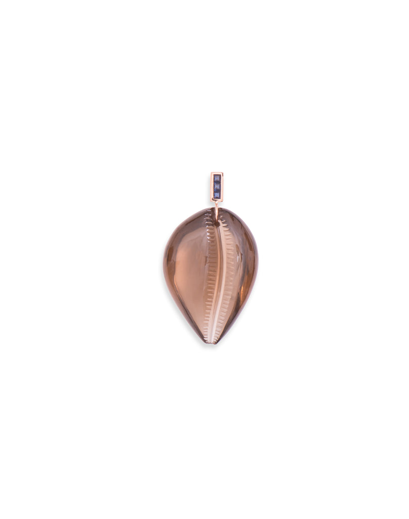 Grande Carved Smokey Quartz Cowry with Sapphires Shark Fin Enameling