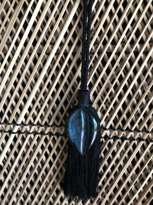 Blue Tiger Eye Carved Cowry Tassel