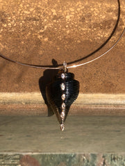 Carved Smokey Quartz Shell with Marquise Diamond