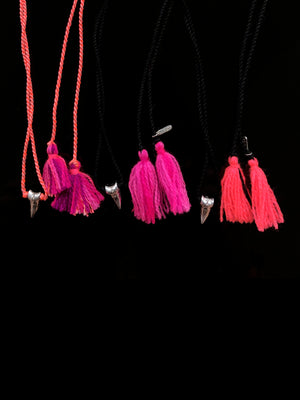 Silver Shark Tooth Tassel Necklace