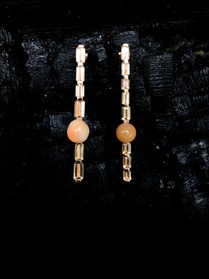 Imperial Topaz and Cassis Pearl Earrings