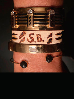 Leather Bracelet with Shark Fins and Initials