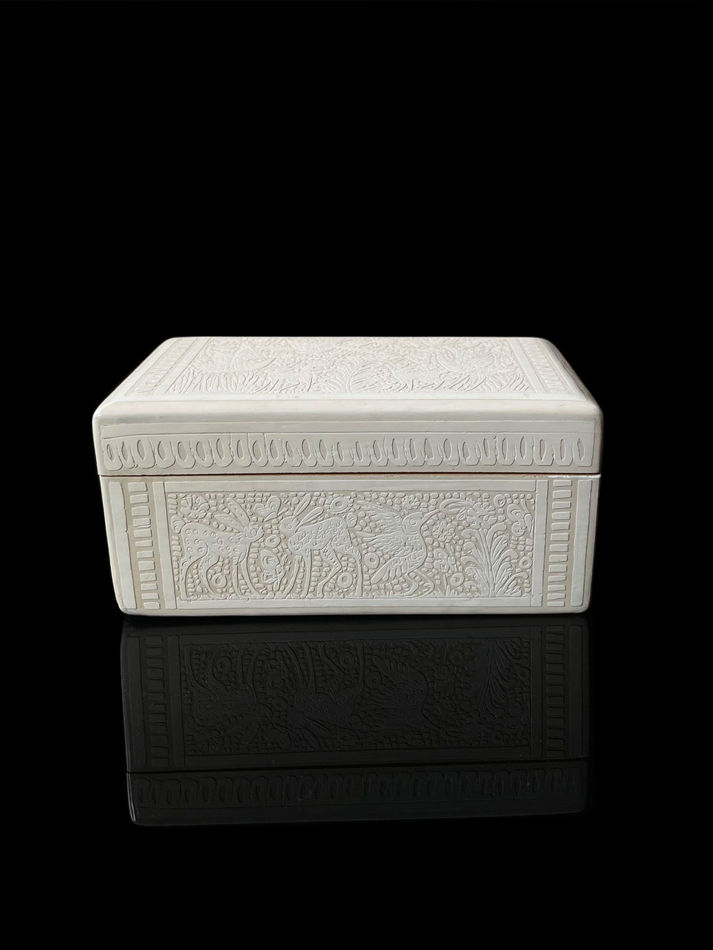 White Engraved Lacquer Wood Box