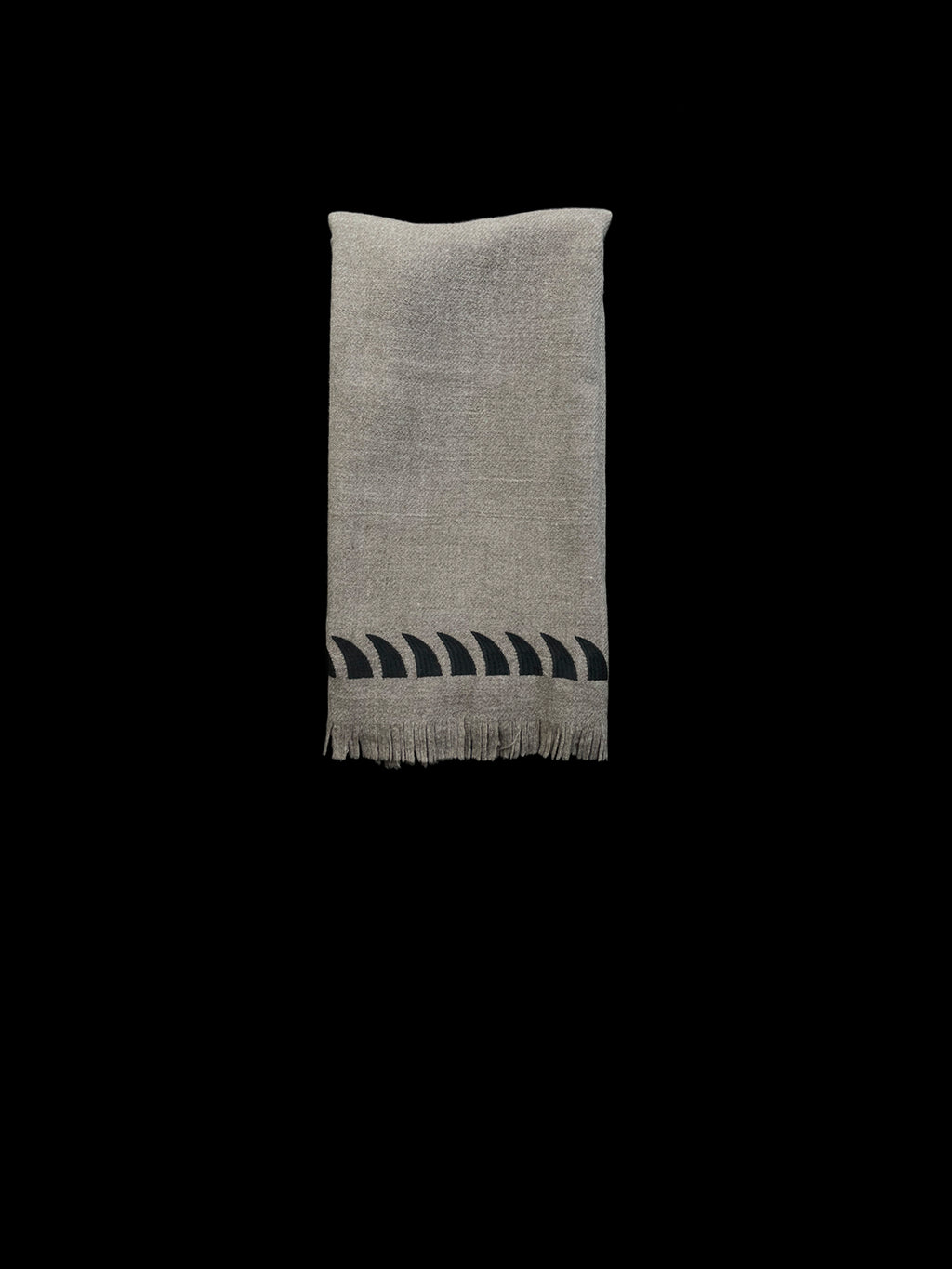 Natural Merino Wool Throw with Shark Fins
