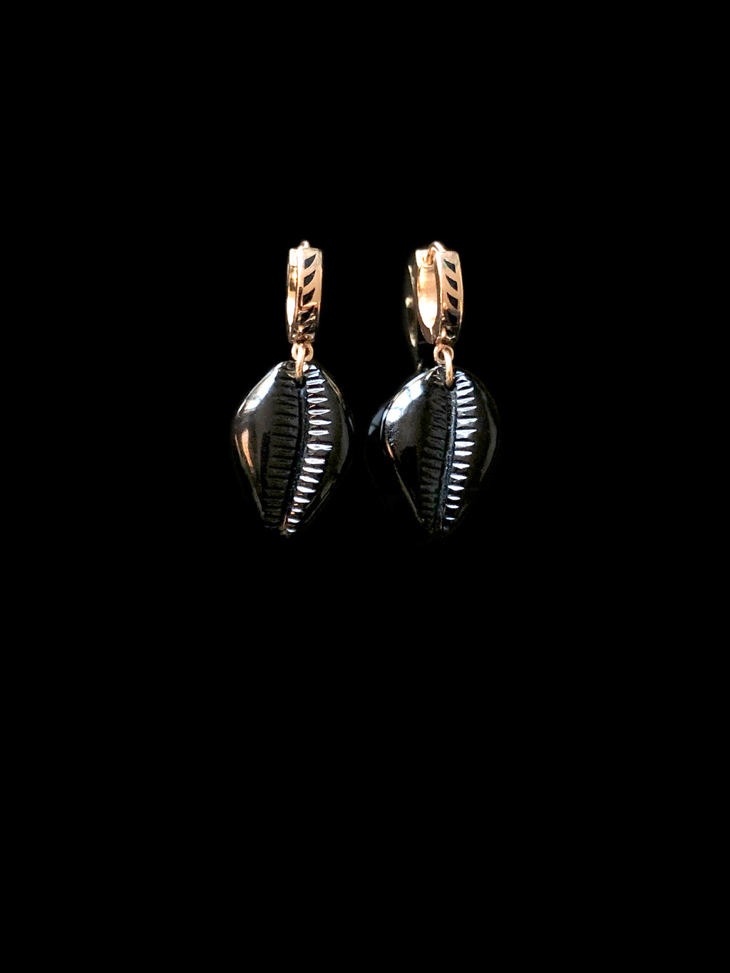 Petite Onyx Carved Cowry Earrings