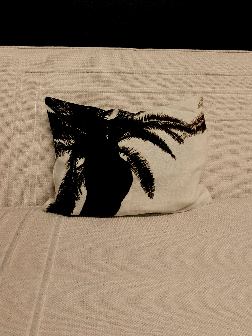 Petite Palm Linen Pillow Case