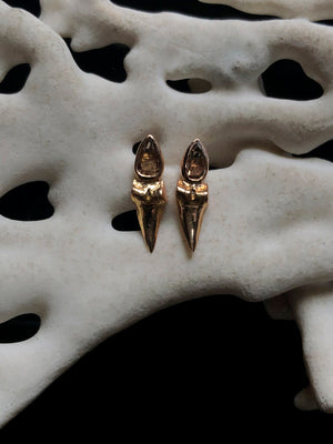 Shark Tooth Rose Cut Earrings
