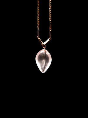 Classic Rose Quartz Carved Cowry Shell