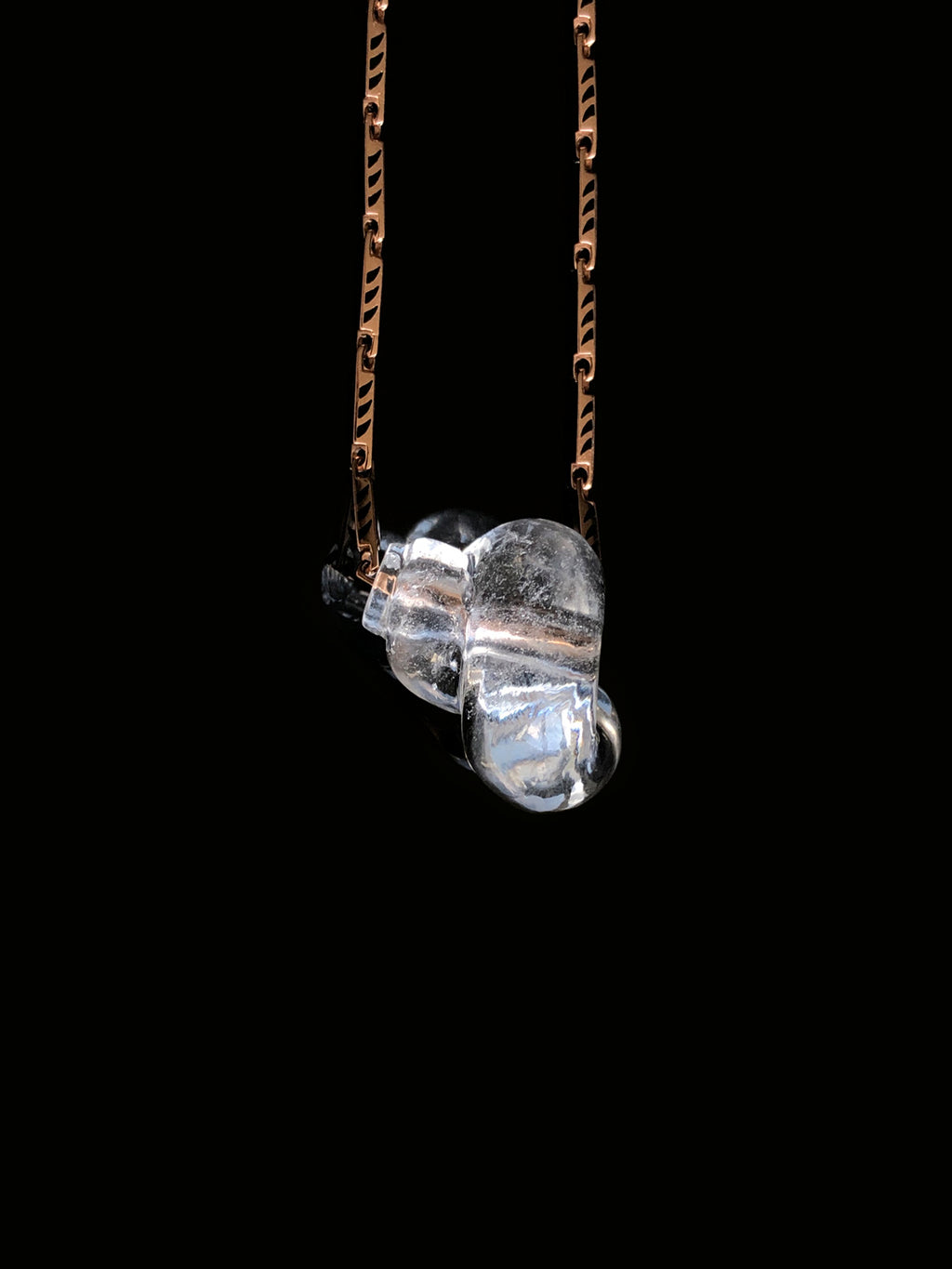 Crystal Quartz Turbo Bead with Shark Fin