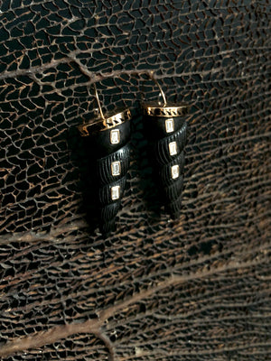 Carved Ebony Wood and Baguette Diamond Earrings