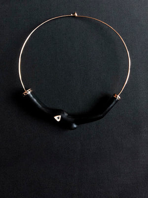 Ebony Wood Coral Branch Necklace with Diamond