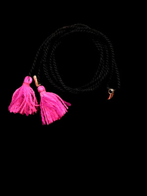 Gold Shark Fin Tassel Necklace with Black Diamond