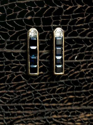 Deco Diamond and Square Sapphire Earrings