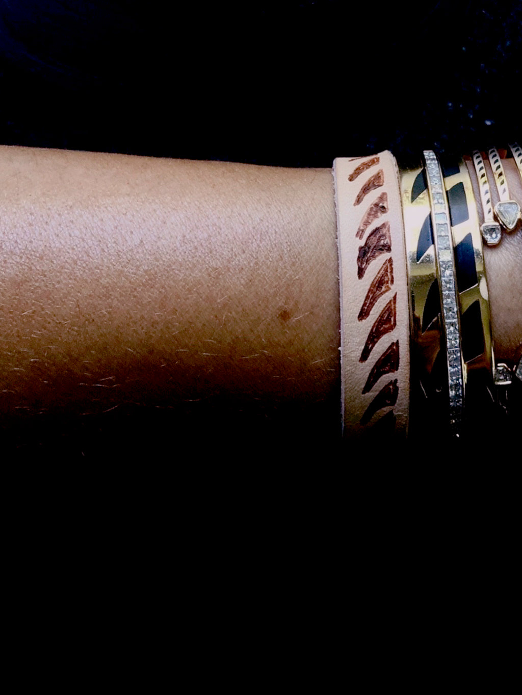 Leather Bracelet with Shark Fins