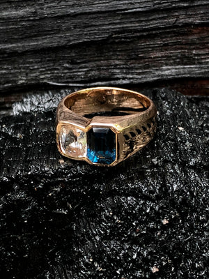 White Sapphire and Blue Spinel Ring