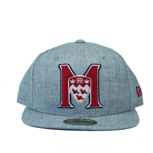 M logo, on a heather grey 59FIFTY New Era fitted