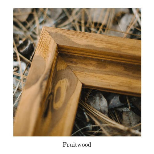 this elegant fruitwood frame is handmade here in the usa to display your favorite piece