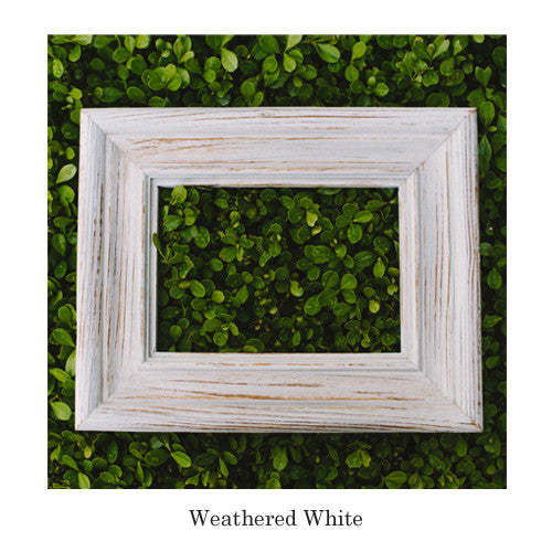 barnwood frame is painted in weathered white a classic choice for displaying your art