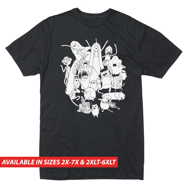 Adventure Time Black & White Group - Men's Big & Tall Short Sleeve Tee