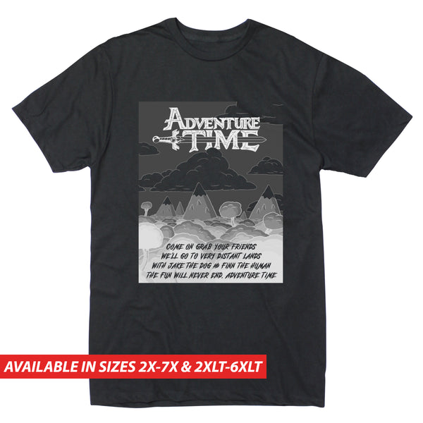 Adventure Time Dark Sky Logo Lyrics - Men's Big & Tall Short Sleeve Tee
