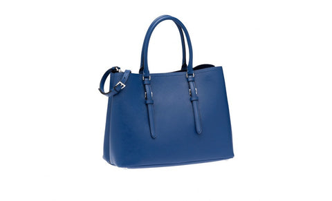 Prada 1BG820 Saffiano Cuir Leather Tote in Cornflower Blue