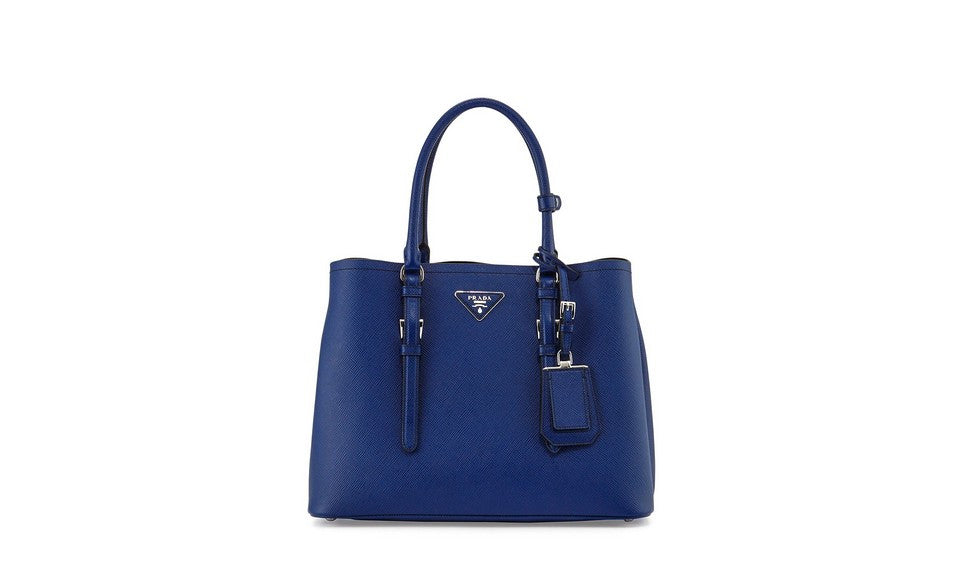 Prada 1BG820 Saffiano Cuir Leather Tote in Ink Blue