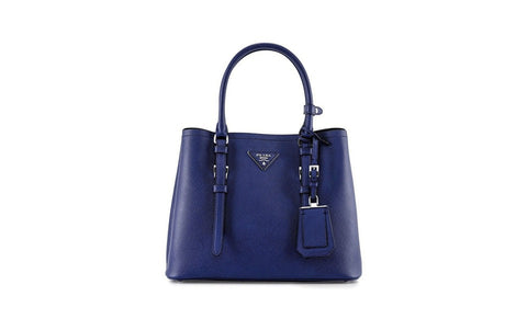 Prada 1BG883 Saffiano Cuir Leather Tote in Cornflower Blue