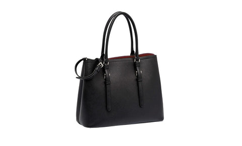 Prada 1BG883 Saffiano Cuir Leather Tote in Nero Black