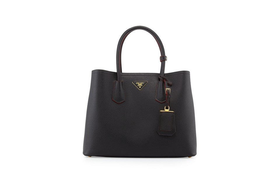 Prada B2756T Saffiano Cuir Leather Tote in Nero Black