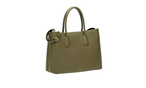 Prada B2756T Saffiano Cuir Leather Tote in Military Green
