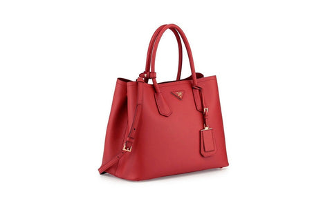 Prada B2756T Saffiano Cuir Leather Tote in Fuoco Red