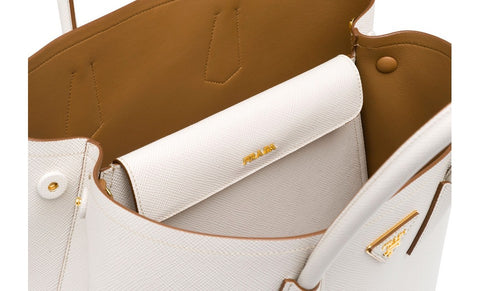 Prada B2756T Saffiano Cuir Leather Tote in Talco Chalk White