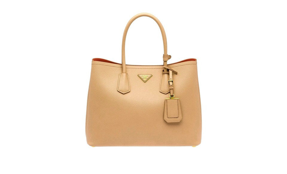 Prada B2756T Saffiano Cuir Leather Tote in Nosette Beige