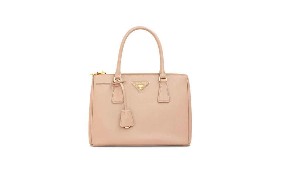 Prada BN1801 Saffiano Leather Tote in Cameo