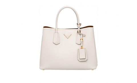 Prada BN2775 Saffiano Cuir Leather Tote in Talco Chalk White