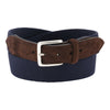 NAVY & BROWN CANVAS/SUEDE BELT WITH SILVER BUCKLE
