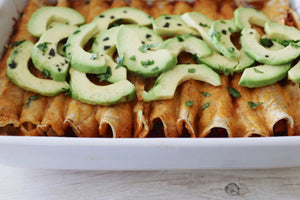 Chicken & Cheese Enchiladas with Avocado and Black Diamond Flake Salt