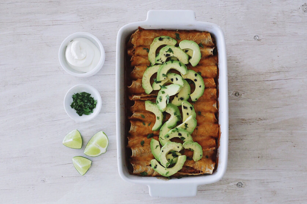 Chicken and Cheese Enchiladas with Avocado and Black Diamond Flake Salt