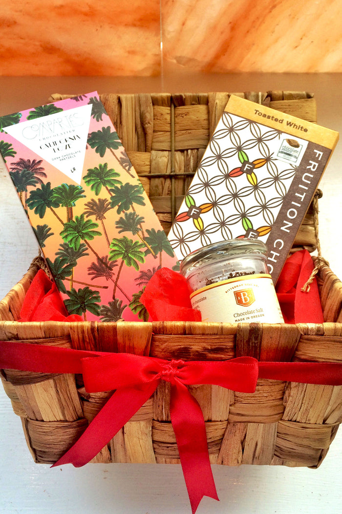 Something Sweet Gift Basket - Flavored Dark Chocolate + Chocolate Fleur de Sel